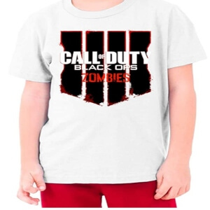 Camiseta logotipo Call of Duty Black Ops 4 zombies para niños