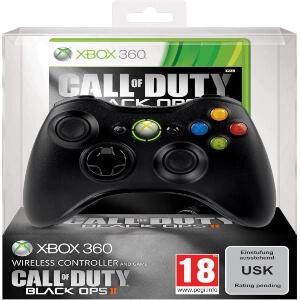 Mando negro de Xbox 360 con juegos de Call of Duty