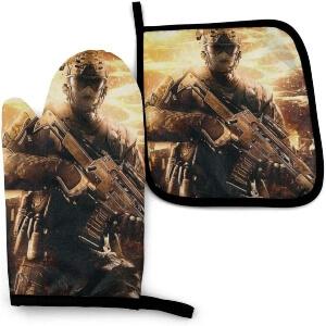 Manoplas y soportes para ollas soldado con arma de Call of Duty