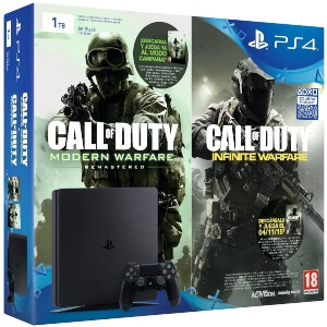 Playstation 4 con Call of Duty Infinite Warfare y Call of Duty Modern Warfare Remasterizado