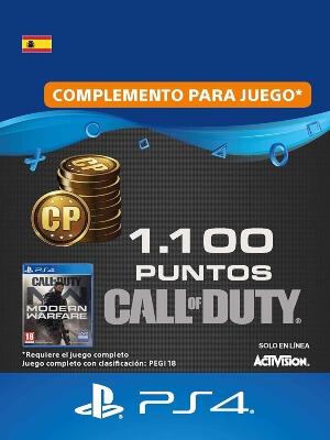 Tarjeta con 1100 CoD Points de Call of Duty