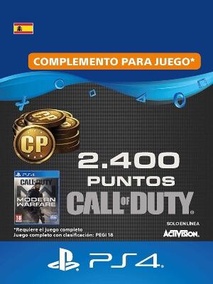 Tarjeta con 2400 CoD Points de Call of Duty