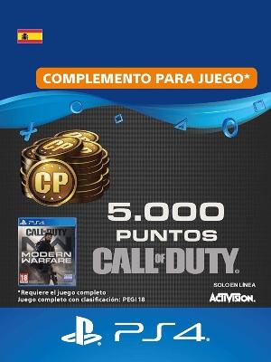 Tarjeta con 5000 CoD Points de Call of Duty