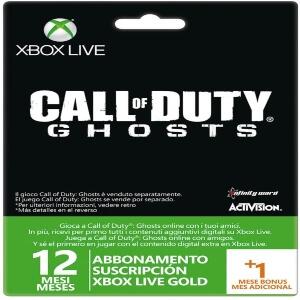 Tarjetas Xbox Live Gold para jugar al Call of Duty Ghosts